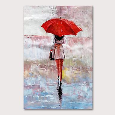 Hang malte oljemaleri Håndmalte - Abstrakt Mennesker Moderne Uten Indre Ramme