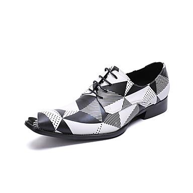 Ανδρικά Νεωτεριστικά παπούτσια Δερμάτινο Ανοιξη καλοκαίρι / Φθινόπωρο & Χειμώνας Βρετανικό Oxfords Μαύρο / Άσπρο / Τετράγωνη Μύτη / Γάμου / Πάρτι & Βραδινή Έξοδος