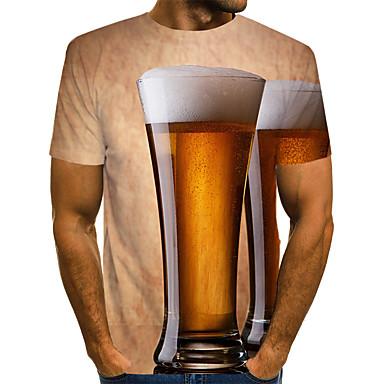 Rund hals EU / USA størrelse T-skjorte Herre - Fargeblokk / 3D / Grafisk, Trykt mønster Gatemote / overdrevet Klubb Lysebrun / Kortermet