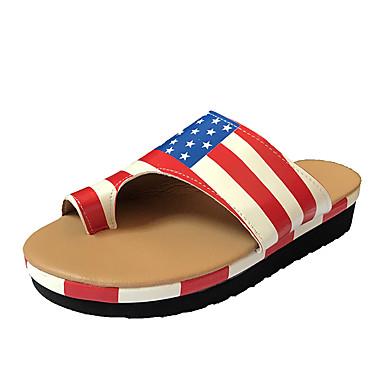 voordelige Damespantoffels & slippers-Dames Slippers & Flip-Flops Lage hak PU Brits Wandelen Lente & Herfst / Lente zomer Beige / Zwart / Rood / ホワイトとグリーン / leuze