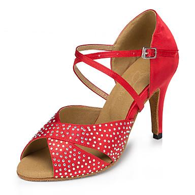 Γυναικεία Παπούτσια Χορού Σατέν Παπούτσια χορού λάτιν Τεχνητό διαμάντι / Κρύσταλλο / Στρας Τακούνια Λεπτή ψηλή τακούνια Εξατομικευμένο Κόκκινο / Επίδοση