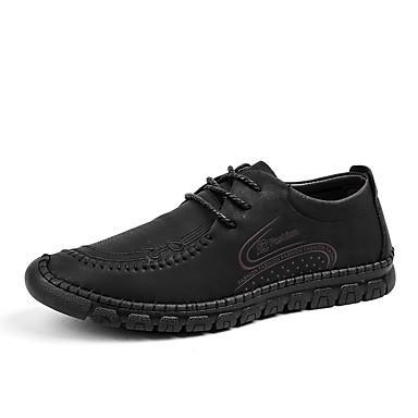 Ανδρικά Παπούτσια άνεσης Μικροΐνα / PU Καλοκαίρι Καθημερινό / Βρετανικό Oxfords Περπάτημα Αναπνέει Μαύρο / Καφέ / Χακί