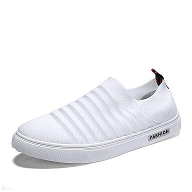 Ανδρικά Παπούτσια άνεσης Ελαστικό ύφασμα / Φουσκωτό πηνίο Καλοκαίρι Καθημερινό Μοκασίνια & Ευκολόφορετα Μη ολίσθηση Μαύρο / Λευκό / Μπεζ