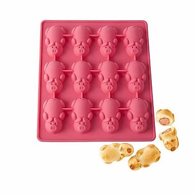 Yiwu pho_095i μούχλα κέικ χοίρων 12 χοίρων σιλικόνης μούχλα κέικ καραμέλα μούχλα σοκολάτας [σειρά νέων τηλεοπτικών σειρών] 18.5x18.5x1.8cm