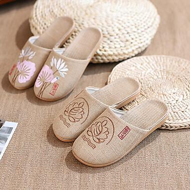 δαντελένιο λινό / ύφασμα ράψιμο παντεσπάνια λινά / παντόφλες γυναικών / παντόφλες οικιακής χρήσης κινέζικα στοιχεία κινέζικα παντόφλες στυλ