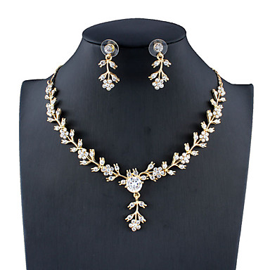 Γυναικεία Λευκό Νυφικό κόσμημα σετ Σύνδεσμος / Αλυσίδα Άνθινο Θέμα Στυλάτο Κρεμαστό Κορεάτικα Μοντέρνα Σκουλαρίκια Κοσμήματα Χρυσό Για Χριστούγεννα Γάμου Πάρτι Αρραβώνας Δώρο 1set