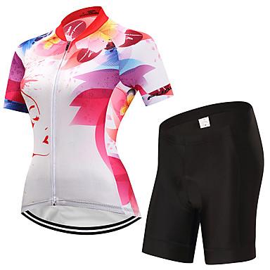 Fastcute Γυναικεία Κοντομάνικο Φανέλα και σορτς ποδηλασίας Λευκό Άνθινο / Βοτανικό Ποδήλατο Ρούχα σύνολα Αναπνέει Ύγρανση Γρήγορο Στέγνωμα Ανατομικός Σχεδιασμός Αθλητισμός Άνθινο / Βοτανικό