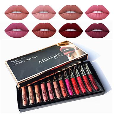 halpa Huulet-myydyin matta nestemäinen huulipuna 12 -värinen seksikäs kosteuttava huulikiilto naisten meikki