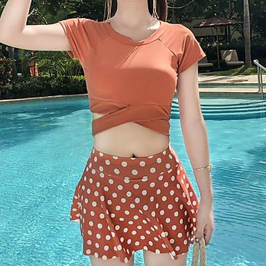 Γυναικεία Υψηλή Μαγιό Μακρυά Μαγιό Αμάνικο 2 τεμάχια - Κολύμβηση Καταδύσεις Patchwork Άνοιξη / Μικροελαστικό