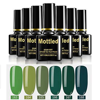 6 τεμάχια χρώματος 163-168 σφουγγαρισμένα εμβάπτιση UV / led gel νυχιών στιλβωμένα συμπαγή έγχρωμα βερνίκια νυχιών