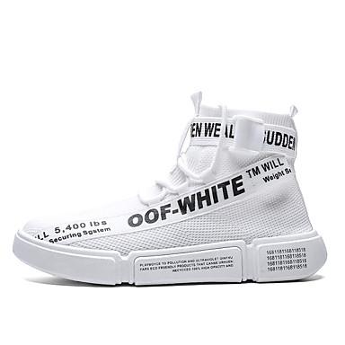 Ανδρικά Παπούτσια άνεσης Ελαστικό ύφασμα Ανοιξη καλοκαίρι Αθλητικό Αθλητικά Παπούτσια Αναπνέει Μαύρο / Λευκό