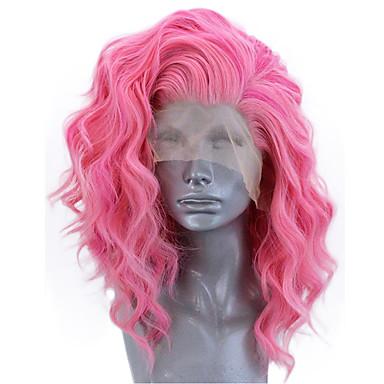 povoljno Perike i ekstenzije-Prednja perika od sintetičkog čipke Wavy Stil Stražnji dio Lace Front Perika Ružičasta Sintentička kosa 12-14 inch Žene Prilagodljiv Otporan na toplinu Party Rose Pink Perika Kratko / Da