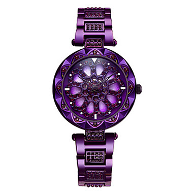 cheap Square & RectangularWatches-Women's Quartz Watches Quartz Stylish Skeleton Water Resistant / Waterproof Stainless Steel Blue / Gold / Purple Analog - Blue Purple Gold / Hollow Engraving