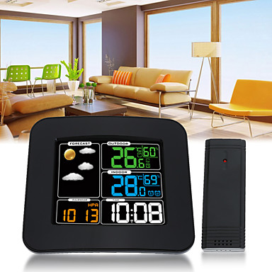 billige Smart vekkerklokke-ts-75 lcd digital inn / utendørs bil temperatur fuktighet barometer trådløst værstasjon farge vekkerklokke værmelding