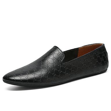 Ανδρικά Δερμάτινα παπούτσια Δερμάτινο Καλοκαίρι / Ανοιξη καλοκαίρι Καθημερινό / Βρετανικό Μοκασίνια & Ευκολόφορετα Περπάτημα Αναπνέει Μποτίνια Μαύρο / Λευκό / Γραφείο & Καριέρα / Οδήγηση παπούτσια