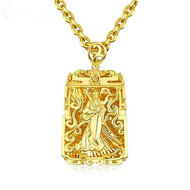 povoljno Modne ogrlice-Muškarci Ogrlice s privjeskom Geometrijski Buda Moda Zircon Pozlaćeni Zlato 61 cm Ogrlice Jewelry 1pc Za Dar Dnevno