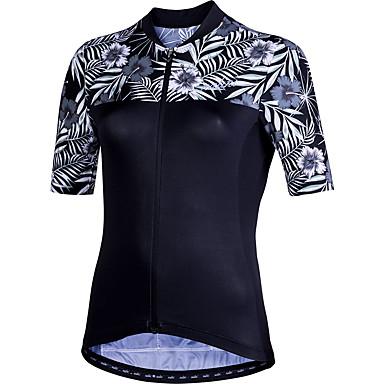21Grams Άνθινο / Βοτανικό Γυναικεία Κοντομάνικο Φανέλα ποδηλασίας - Μαύρο Ποδήλατο Αθλητική μπλούζα Μπολύζες Αναπνέει Ύγρανση Γρήγορο Στέγνωμα Αθλητισμός Τερυλίνη Ποδηλασία Βουνού Ρούχα