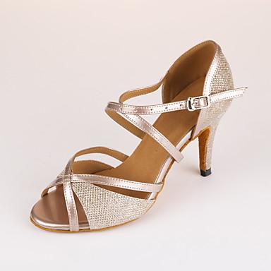abordables Chaussures de Danse-Femme Chaussures de danse Polyuréthane Chaussures Latines Talon Mince haut talon Personnalisables Beige / Entraînement / Utilisation / Cuir