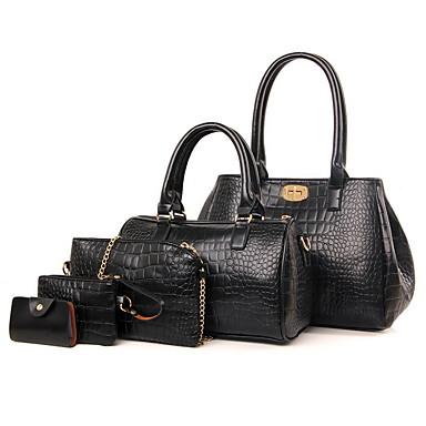 Γυναικεία Φερμουάρ PU Σετ τσάντα 5 σελ. Σετ πορτοφολιών Μαύρο / Θαλασσί / Ρουμπίνι
