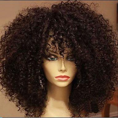 Συνθετικές Περούκες Afro Kinky Με αφέλειες Περούκα Κοντό Σκούρο Καστανοκόκκινο Συνθετικά μαλλιά 15 inch Γυναικεία Περούκα αφροαμερικανικό στυλ Για μαύρες γυναίκες Σκούρο Καφέ