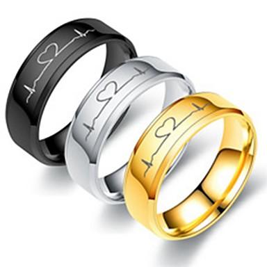Για Ζευγάρια Δαχτυλίδια Ζευγαριού Δαχτυλίδι 1pc Χρυσό Μαύρο Ασημί Ανοξείδωτο Ατσάλι Τιτάνιο Ατσάλι Κυκλικό Βασικό Μοντέρνα Αρραβώνας Δώρο Κοσμήματα Καρδιά Απίθανο Lovely