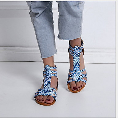 preiswerte Modische Sandalen-Damen Sandalen Flacher Absatz Peep Toe PU Sommer Rosa / Leopard / Khaki