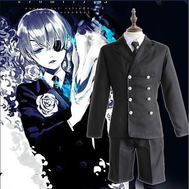 Εμπνευσμένη από Black Butler Ciel Phantomhive Anime Στολές Ηρώων Ιαπωνικά Κοστούμια Cosplay Συμπαγές Χρώμα Κορυφή / Μανδύας / Κοντά Παντελονάκια Για Ανδρικά / Γυναικεία / Καπέλο