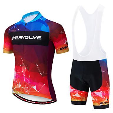 EVERVOLVE Ανδρικά Κοντομάνικο Αθλητική φανέλα και σορτς ποδηλασίας Λευκό Μαύρο Ποδήλατο Ρούχα σύνολα Αναπνέει Ύγρανση Γρήγορο Στέγνωμα Ανατομικός Σχεδιασμός Αθλητισμός Βαμβάκι Λίκρα Γεωμετρία