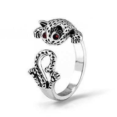 billige Motering-Dame Ring Justerbar ring Pussy Rings Kubisk Zirkonium 1pc Hvit Kobber Geometrisk Form Stilfull Luksus Vintage Fest Gave Smykker Vintage Stil Kat Kul