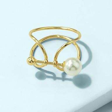 billige Motering-Dame Ring 1pc Gull Imitert Perle Legering Stilfull Unikt design Mote Gave Daglig Smykker geometriske Twist Circle Kul