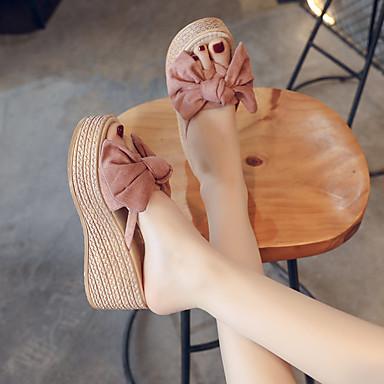 voordelige Damespantoffels & slippers-Dames Slippers & Flip-Flops Sleehak Open teen PU Zomer Beige / Geel / Roze