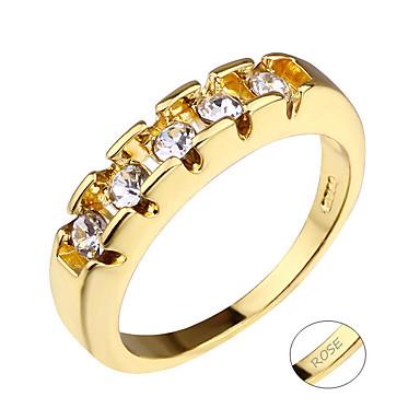 Εξατομικευμένη Προσαρμοσμένη Διάφανο Cubic Zirconia Δαχτυλίδι Κλασσικό Χαραγμένο Δώρο Υπόσχεση Φεστιβάλ Geometric Shape 1pcs Χρυσό