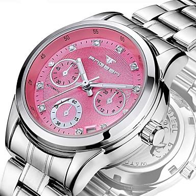 levne Dámské-Dámské mechanické hodinky Luxus Módní Stříbro Nerez Automatické natahování Bílá Světlá růžová Žlutá Voděodolné Kalendář 30 m 1 ks Analogové