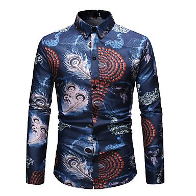 Homens Tamanho Europeu / Americano Camisa Social Básico / Moda de Rua Estampado, Gráfico Algodão Colarinho Clássico Azul Marinha / Manga Longa