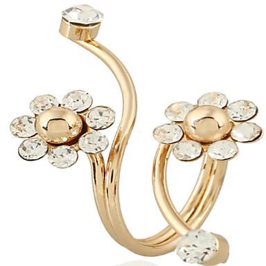 Dame Åpne Ring 1pc Gull Chrome Sirkelformet Søt Mote Daglig Smykker geometriske Blomst
