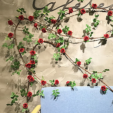 Kunstige blomster 1 Gren Veggmontert Moderne Moderne Roser Veggblomst