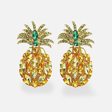 povoljno Modne naušnice-Žene Viseće naušnice Chandelier Ananas Imitacija dijamanta Naušnice Jewelry Zlato Za Ulica Jabuka 1 par