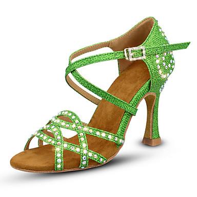 Γυναικεία Παπούτσια Χορού Συνθετικά Παπούτσια χορού λάτιν Αστραφτερό Γκλίτερ / Γκλίτερ / Κρύσταλλο / Στρας Τακούνια Τακούνι καμπάνα Εξατομικευμένο Χρυσό / Πράσινο / Εξάσκηση