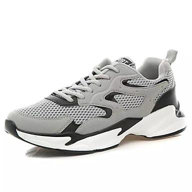 Ανδρικά Παπούτσια άνεσης Δίχτυ / PU Καλοκαίρι Αθλητικό Αθλητικά Παπούτσια Τρέξιμο Μη ολίσθηση Συνδυασμός Χρωμάτων Μαύρο / Λευκό / Γκρίζο