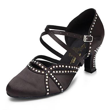 preiswerte Tanzschuhe-Damen Tanzschuhe Satin Schuhe für modern Dance Strass / Crystal / Strass Absätze Kubanischer Absatz Maßfertigung Schwarz / Leistung