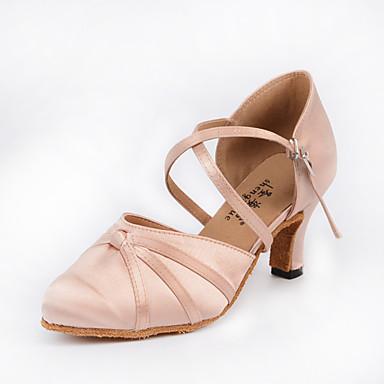 Dame Moderne sko / Ballett Sateng Cross Strap Høye hæler Tvinning Kubansk hæl Dansesko Rosa / Ytelse