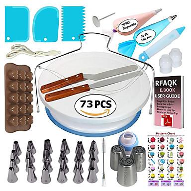 Um conjunto de ferramentas de decoração do bolo dicas de confeiteiro turntable pastelaria sacos acopladores tubulação bicarbonato ferramentas de cozimento conjunto para cupcakes biscoitos