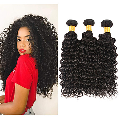 povoljno Ekstenzije za kosu-3 paketa Brazilska kosa Kinky Curly Remy kosa Ljudske kose plete 8-28 inch Isprepliće ljudske kose Proširenja ljudske kose / 10A