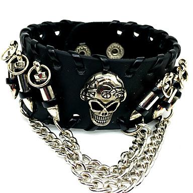 voordelige Herensieraden-Heren Lederen armbanden Klassiek Schedel Statement Rock tekonahka Armband sieraden Zwart Voor Carnaval Straat