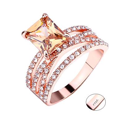 Εξατομικευμένη Προσαρμοσμένη Διάφανο Cubic Zirconia Δαχτυλίδι Κλασσικό Χαραγμένο Δώρο Υπόσχεση Φεστιβάλ Geometric Shape 1pcs Χρυσό Τριανταφυλλί