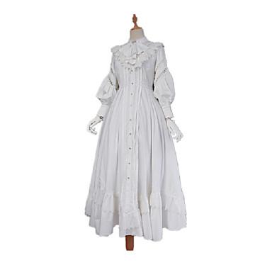 Παραδοσιακό / Πεπαλαιωμένο Βίντατζ Γοτθική Λολίτα Φορέματα Βαμβάκι Ιαπωνικά Κοστούμια Cosplay Λευκό / Μαύρο Συμπαγές Χρώμα Πεπαλαιωμένο Δαντέλα Juliet Μακρύ Μήκος