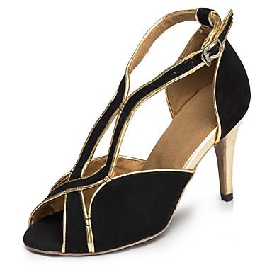 preiswerte Tanzschuhe-Damen Tanzschuhe Nylon Schuhe für den lateinamerikanischen Tanz Farbaufsatz Absätze Schlanke High Heel Maßfertigung Schwarz und Gold / Leder / Praxis