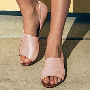 levne Dámské boty s plochou podrážkou-Dámské Bez podpatku Rovná podrážka PU Léto Béžová / Žlutá / Dusty Rose