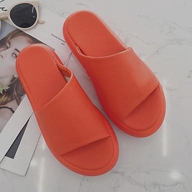 voordelige Damespantoffels & slippers-Dames Slippers & Flip-Flops Creepers PU Zomer Wit / Oranje / Geel