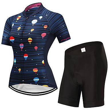 Fastcute Γυναικεία Κοντομάνικο Φανέλα και σορτς ποδηλασίας Μαύρο / Μπλε Μπαλόνια Ποδήλατο Ρούχα σύνολα Αναπνέει Ύγρανση Γρήγορο Στέγνωμα Αθλητισμός Μπαλόνια Ποδηλασία Βουνού Ποδηλασία Δρόμου Ρούχα